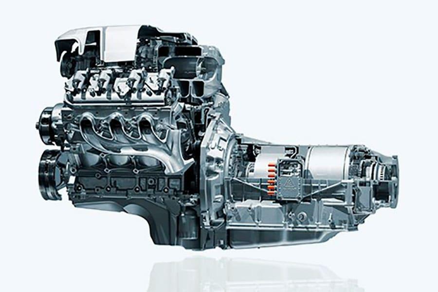 Motor de un coche híbrido